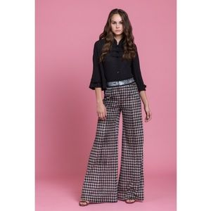 Byron Lars Houndstooth Wide Leg Pants 4